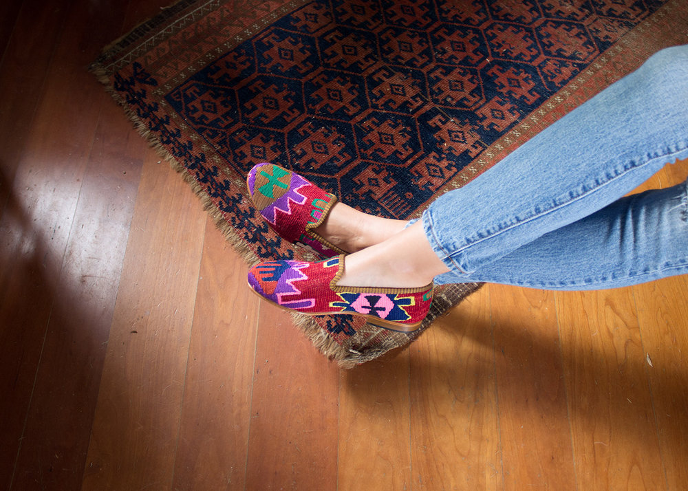 """""""I cannot go anywhere in New York without being stopped and complimented on my Kilim Smoking Shoes""""   -Roxana Mead"""
