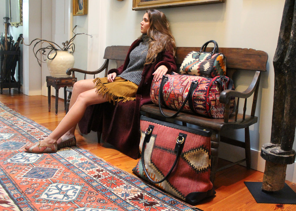 """""""There are 'it' bags, and then there are timeless investment pieces that pack an aesthetic punch""""   -Boston Magazine on Artemis Kilim Weekenders"""