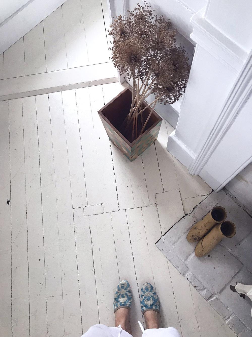 Carson velvet slides on a white painted floor.