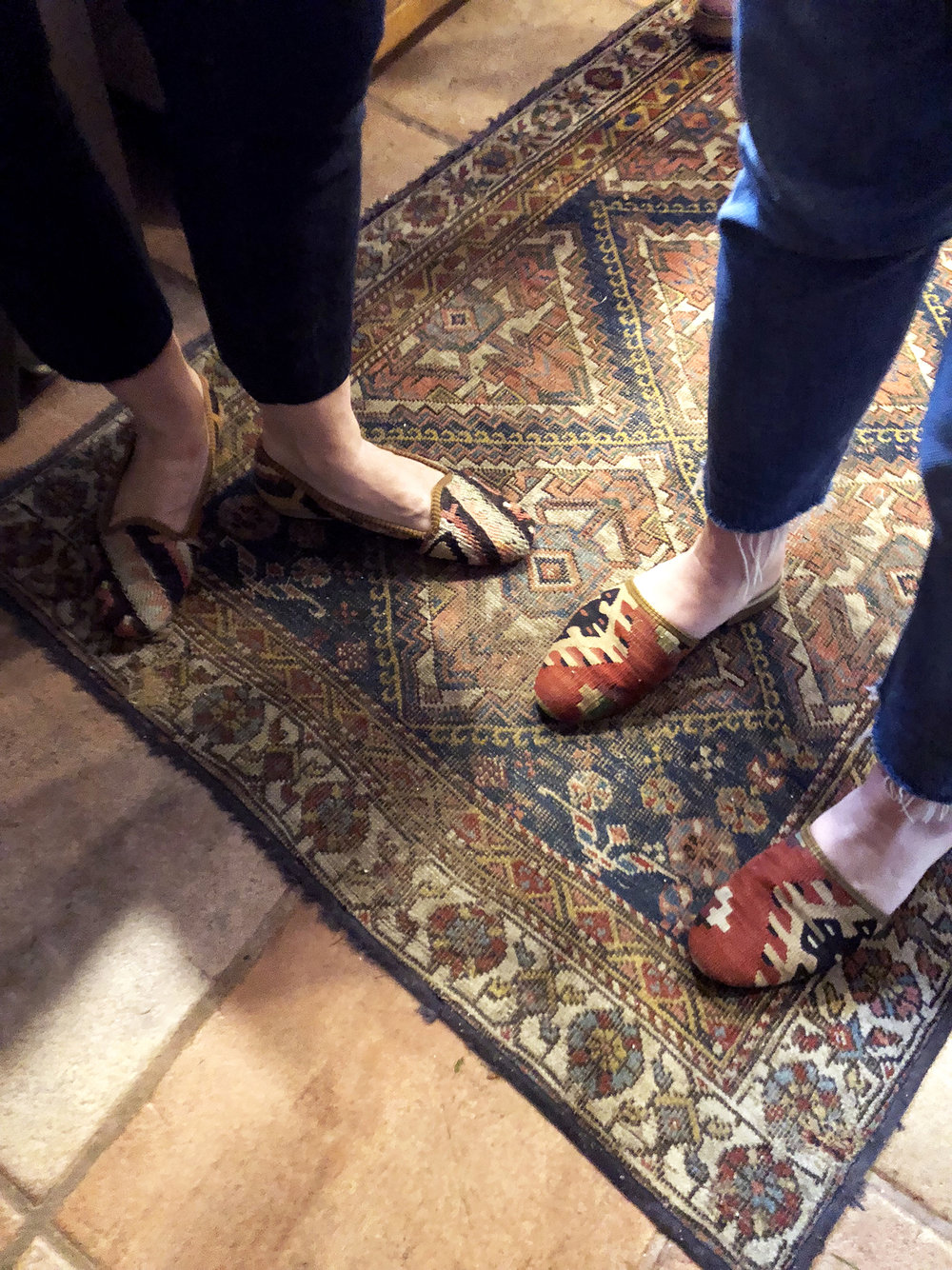 Kilim shoes at a family cocktail party.