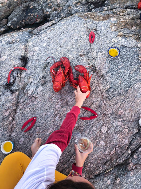 Our team enjoying a lobster dinner while wearing Kilim shoes.