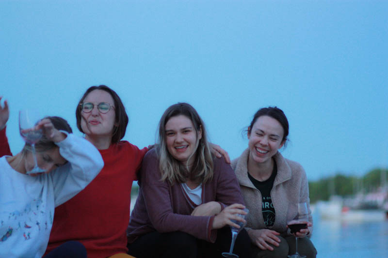 Our team enjoying a summer evening while wearing Kilim shoes.