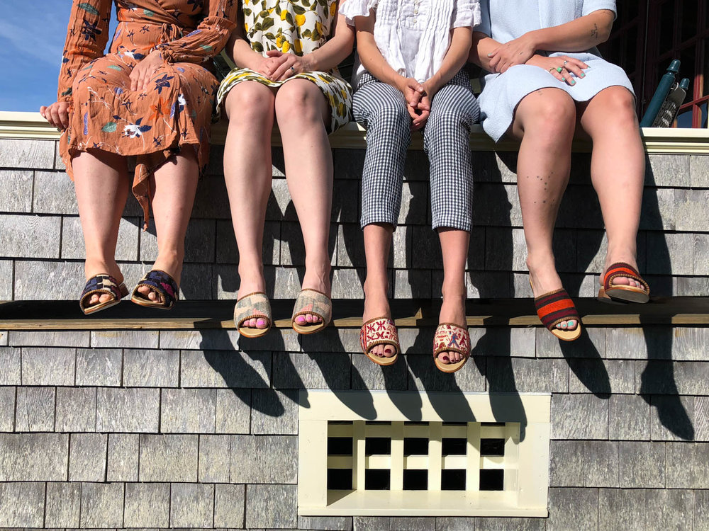 Our team wearing our Kilim Sandals, our newest Kilim shoe.