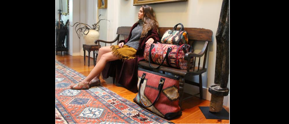 Kilim and Raffia Bags