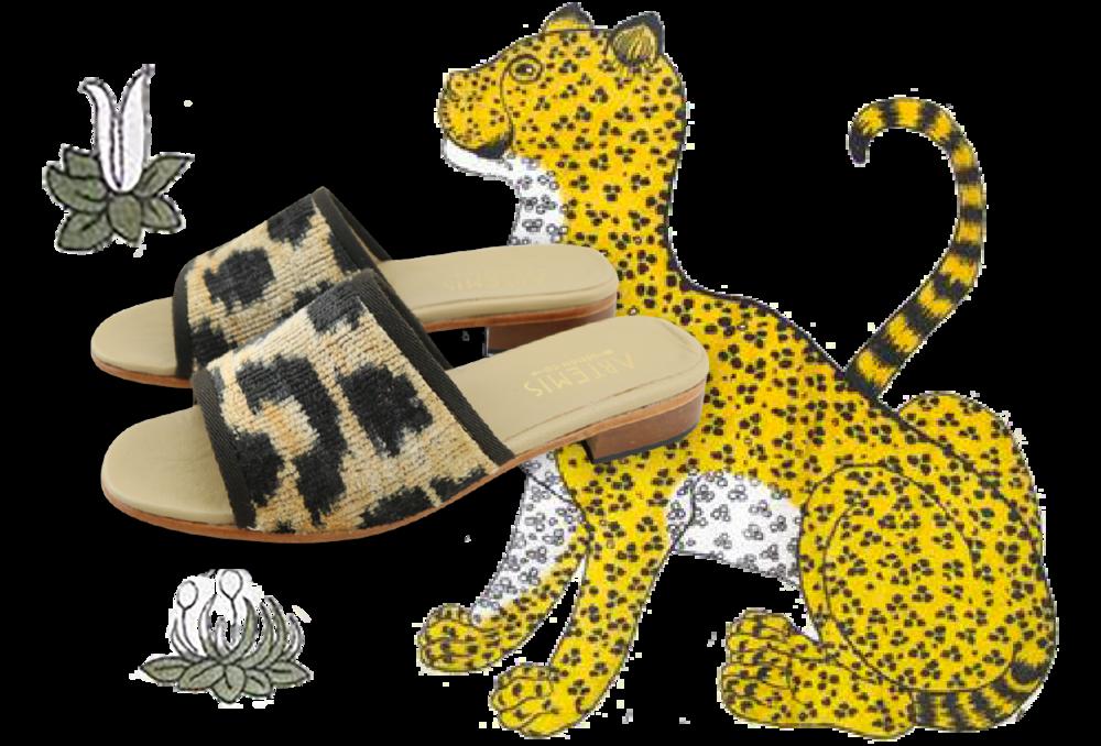 Leopard Print Velvet Sandals