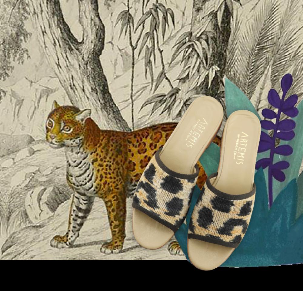 Leopard Print Velvet Sandal