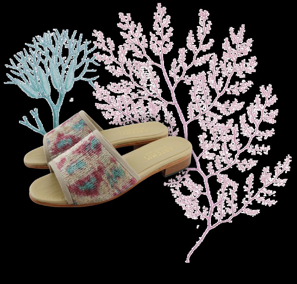 Coral Reef Print Velvet Slides