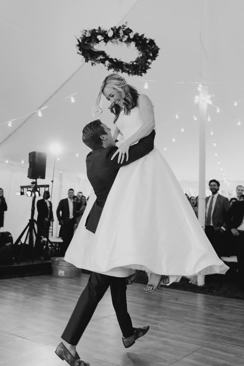 Our dear friends Christina and Alex at their wedding. Alex is wearing custom groomsmen shoes that were created for their wedding.