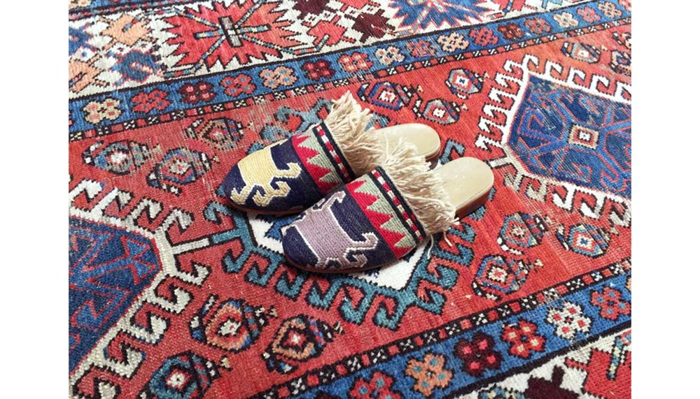 Artemis Sumak Fringe Slides on a Kilim Carpet, photo taken in Westport, CT.