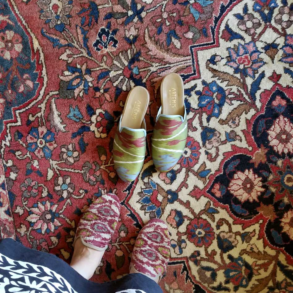 Custom silk slippers we created for McNeill's mom. Photo taken on a Kilim carpet in her parent's home.