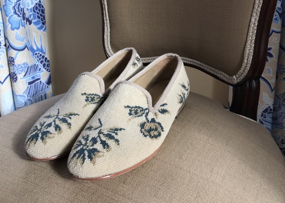 Custom smoking shoes we created form a textile that was not a Kilim carpet.