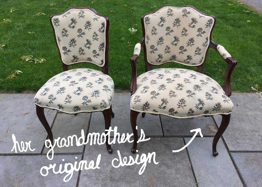 We created custom Kilim shoes from the textile on these chairs.