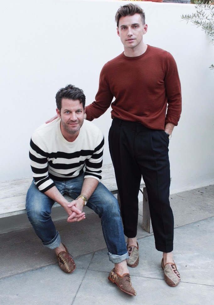 Designers Nate Berkus and Jeremiah Brent in Artemis Design co Kilim Shoes that we designed in collaboration with them.