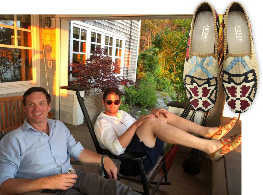 Brian and his friend Chris relax in Maine, wearing Artemis men's kilim smoking shoes.