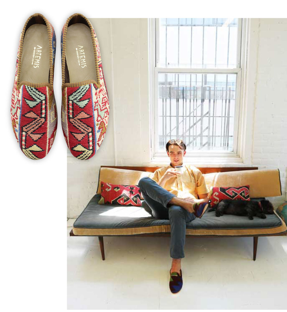 Lincoln sits in the sun with legs crossed, wearing Artemis men's kilim smoking shoes.