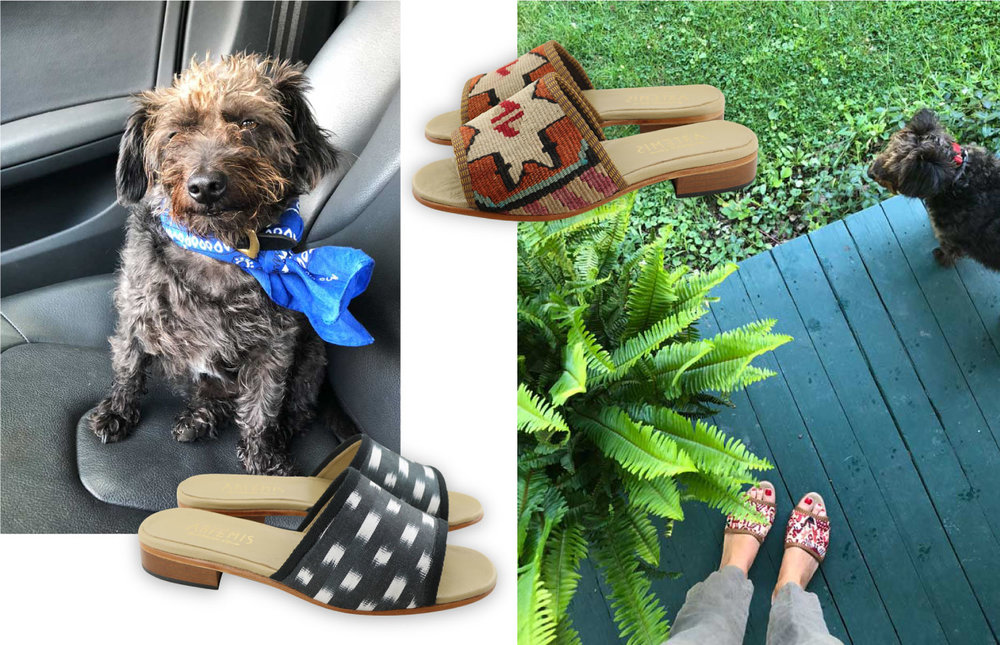 Image of a collage featuring Artemis silk and kilim sandals modeled in Maine.