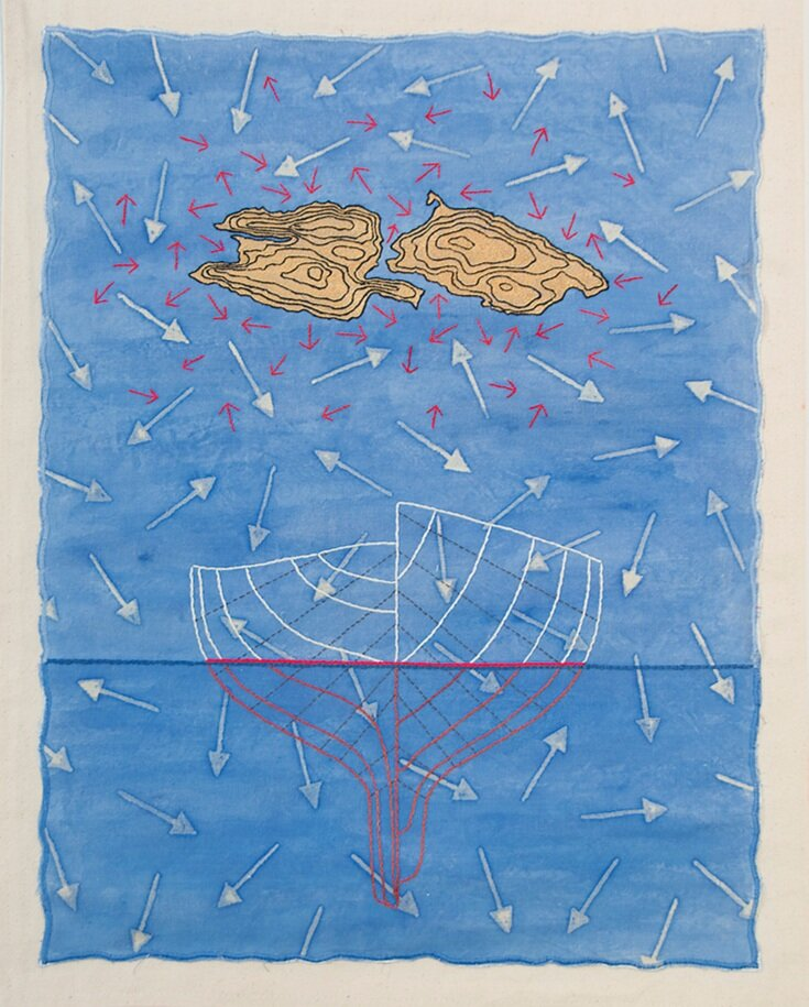 Cross Currents 2007   61cm x 48cm fabric paint, resist, hand embroidery, appliqué