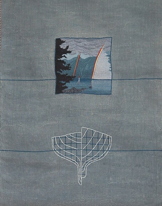 Howe Sound 2004  67cm x 48cm w hand embroidery, fabric paint