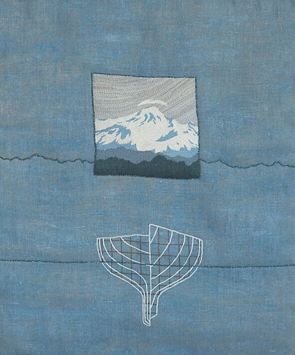 Mt Baker 2004  67cm x 57cm w fabric paint, hand embroidery