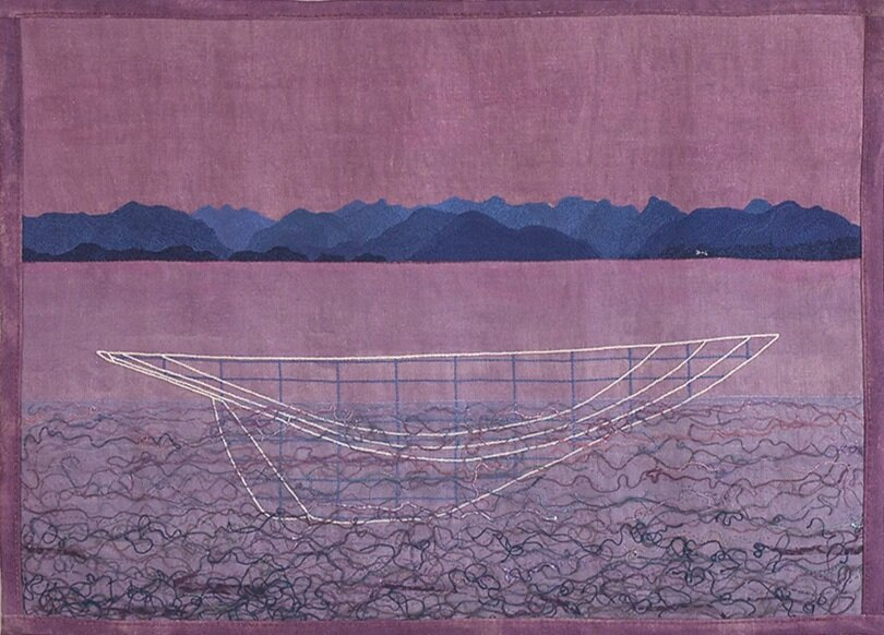 Point Atkinson 2004  69 x 97cm  hand embroidery, fabric paint