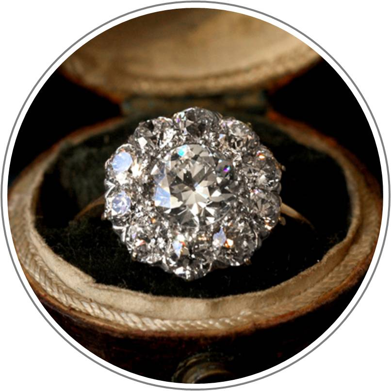 1900s Vicotrian Diamond Cluster Engagement Ring