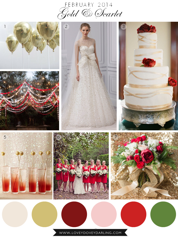 Lovey Dovey Darling | February Inspiration Board - Gold and Scarlet Red