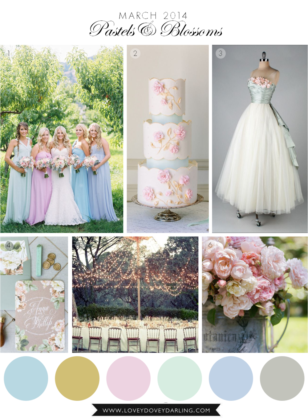 Lovey Dovey Darling | March Wedding Inspiration Board - Pastels and Blossoms