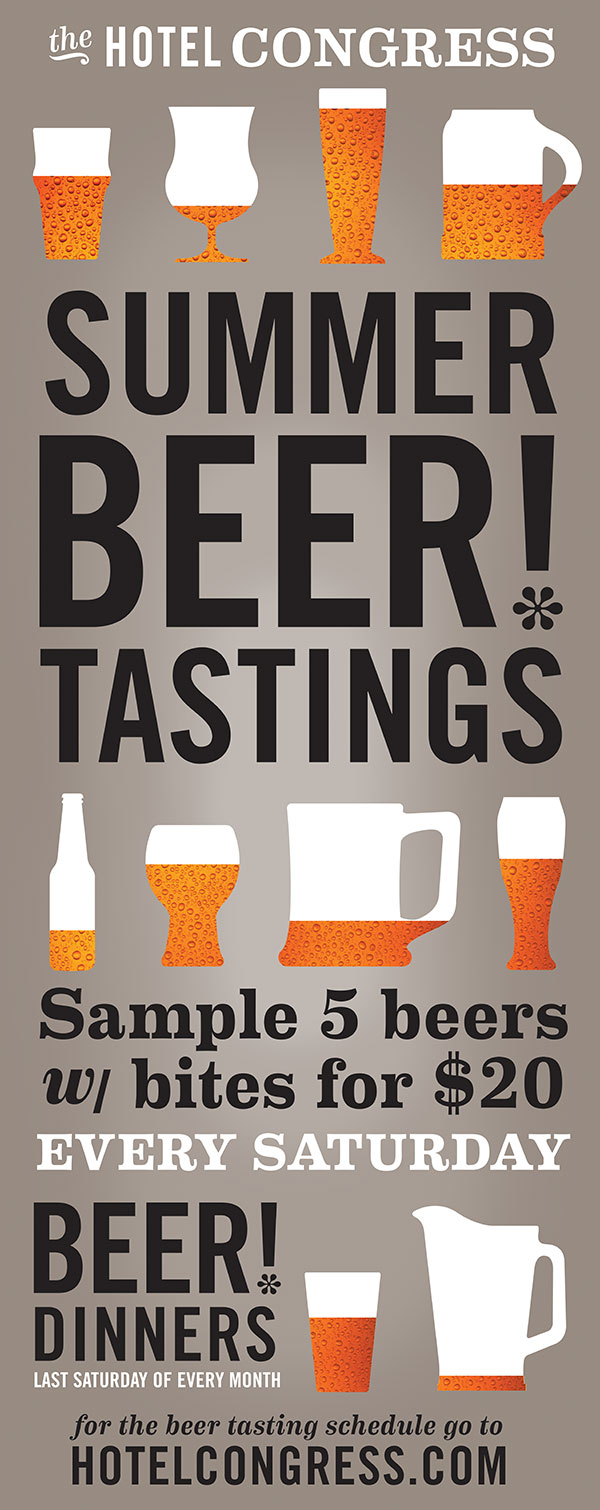 In-house promotional vertical banner for Hotel Congress's Summer Beer! Series