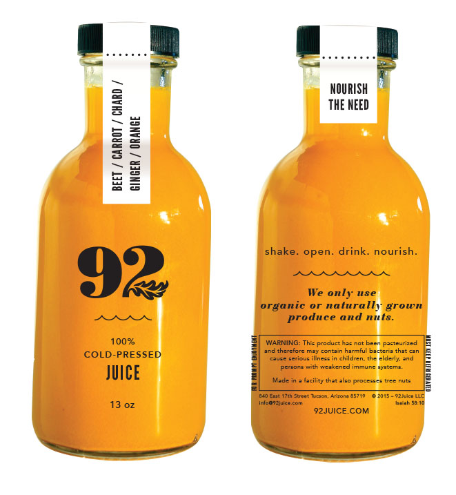 Packaging design for 92 Juice. Silk screened glass bottles with tamper proof label doubling as individual ingredient listing and drink by date.