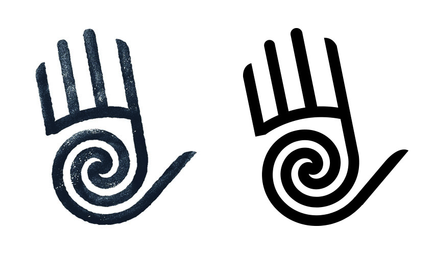 Logo for Tucson based Southwest Shoulder Elbow & Hand. Image inspired by local petroglyphs