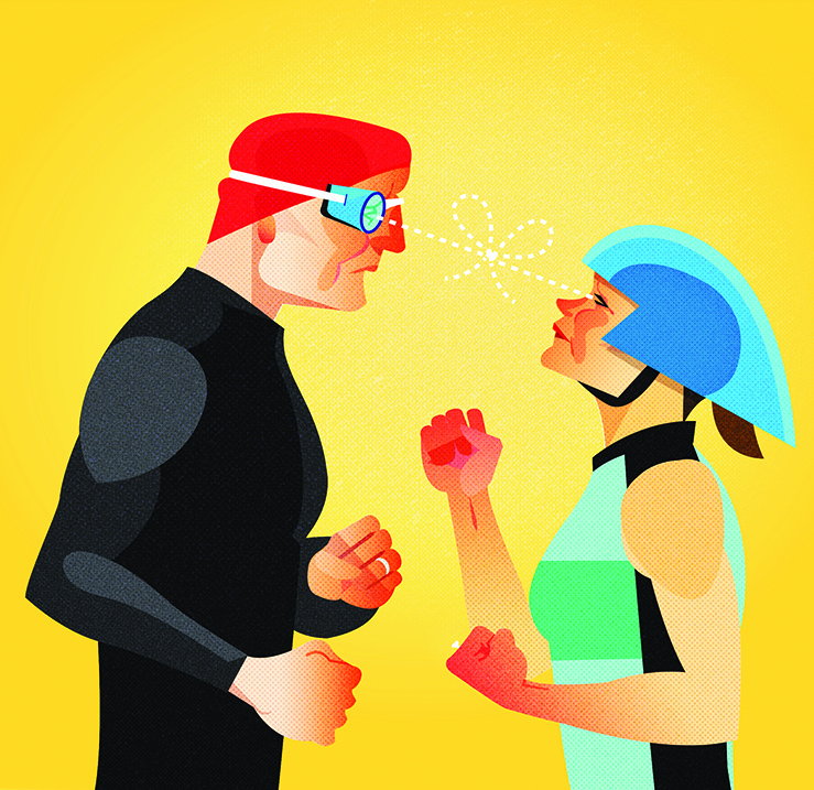 Half page illustration for Triathlete Magazine. The article focused on the struggles of balancing training and life within a two triathlete household.