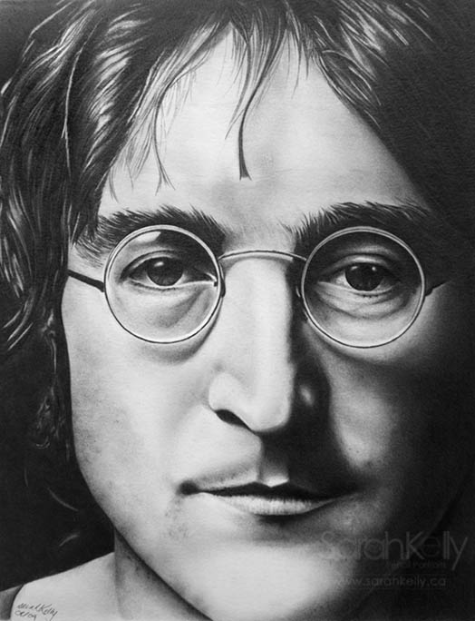 Realistic pencil drawing of John Lennon
