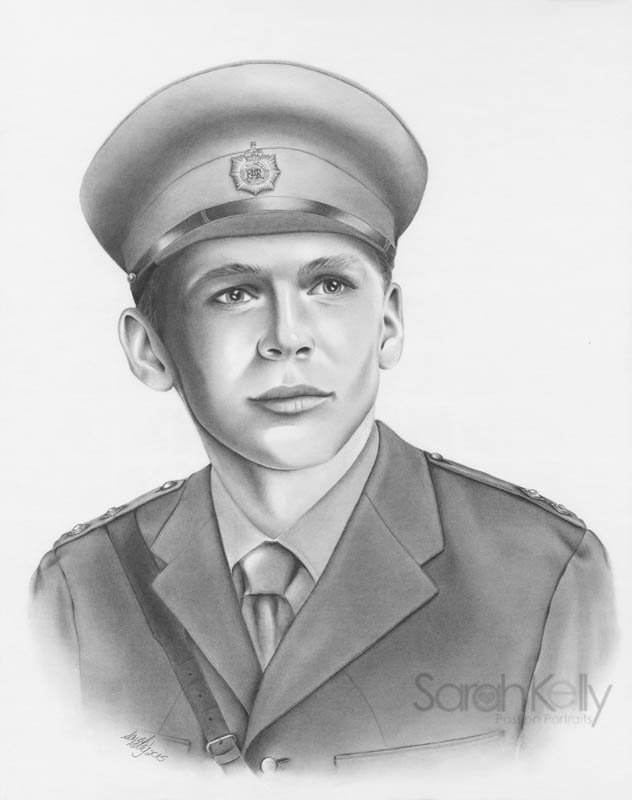 """Dear Sarah, I wish to thank you for sending me the completed portrait of myself in my early military dress. The task which was requested of you was very challenging. Your ability to piece together my submitted dated photographs and military dress references, was truly creative. The most outstanding rendition in the portrait was your inclusion of characteristic personality, as recognized by my family.""  Sincerely, Kenneth Giles"