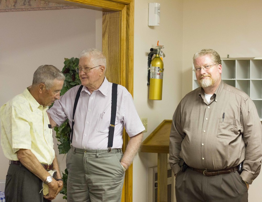 Left to right: ert Gillman (Elder), Carl Daniels (Deacon) & Brian Daniels (Elder)