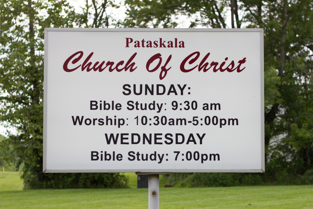 Our church sign with meeting times.