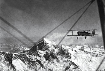 The famous picture of the modified Westland PV-3 with call sign G-ACAZ being flown by Douglas Douglas-Hamilton on the morning of 3 April 1933 towards the summit of Mt Everest.