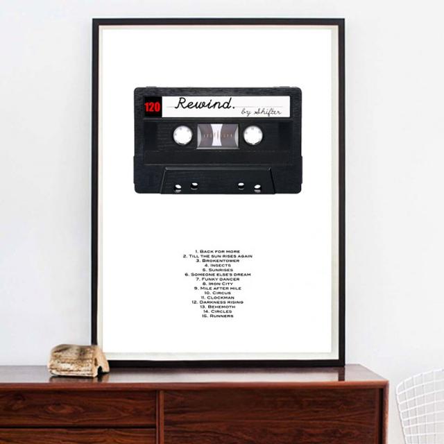 Kasettposter i A3 eller A2  där du kan välja låtarna till spellistan. Från Nordic Design Collective för 579 kronor.