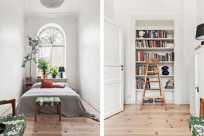 Gästsovrum med möbler klädda i tyg från Svenskt tenn samt inbyggd bokhylla. Foto: Skandiamäklarna