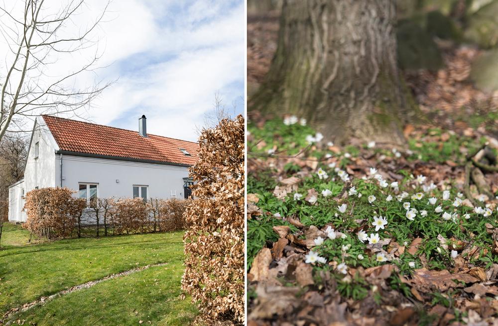Huset ligger på en hörntomt i ett villaområde. Strax intill finns skogen och ett promenadstråk går alldeles förbi tomten.