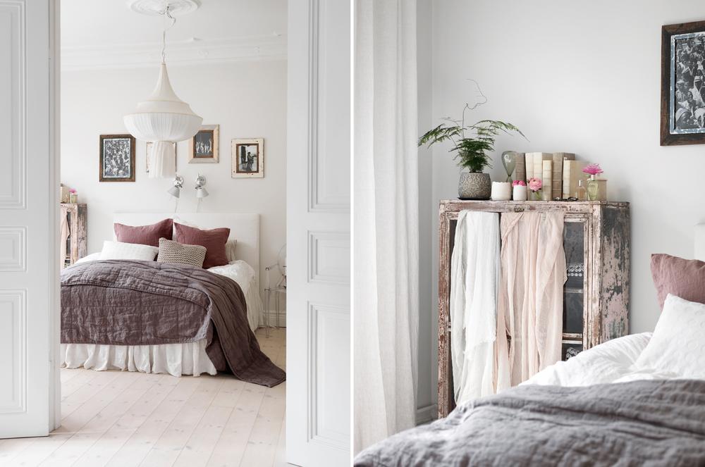I sovrummet är sängen bäddad med blandade, harmoniska textilier. På skåpet i högra bilden hänger dekorativa, tunna sjalar.