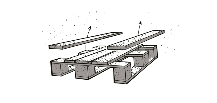 2. Bryt loss två plankor från pall två …