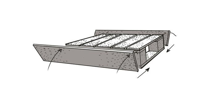 … och sätt fast plankorna på den största halvan av pall 1.