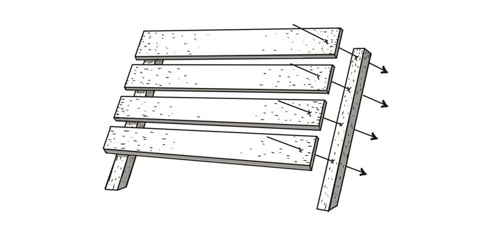 3 och 4. Restbrädorna från pallarna skapar stolens rygg. Glöm inte att snedsåga botten på de smalare brädorna.
