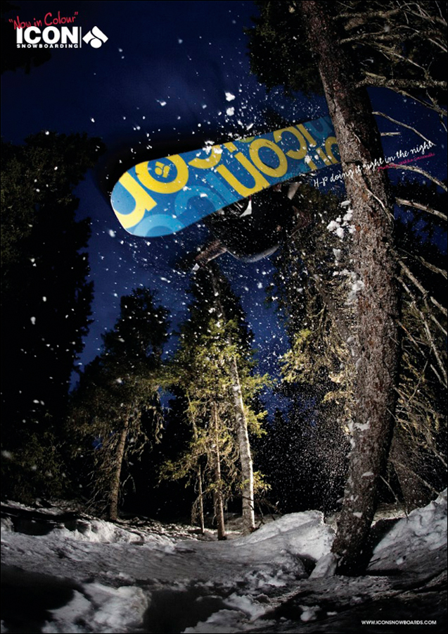 HP Parviainen treeride at Ruka backcountry, ad for Icon snowboarding, Kuusamo, 2009
