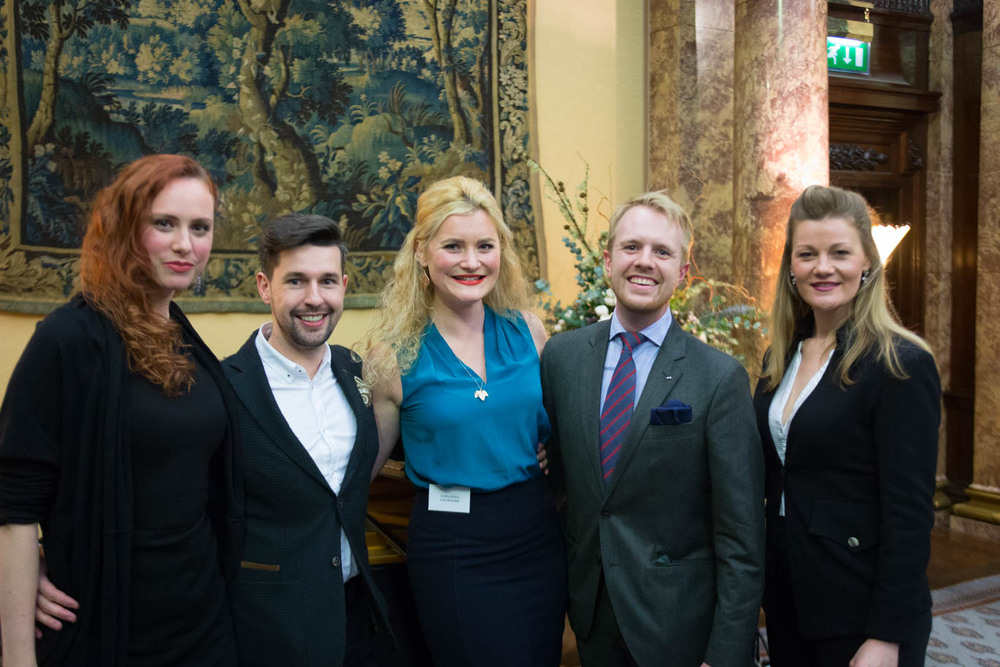AMF Alumni Sky Ingram, Russell Harcourt, Samantha Crawford, Morgan Pearse and Helen Sherman at the 2015 Prize-Winners' Concert, Australia House.