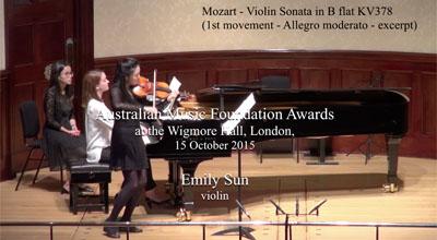 Emily Sun (violin) -  Mozart  - Violin Sonata in B flat KV378 (First movement - Allegro moderato - excerpt)