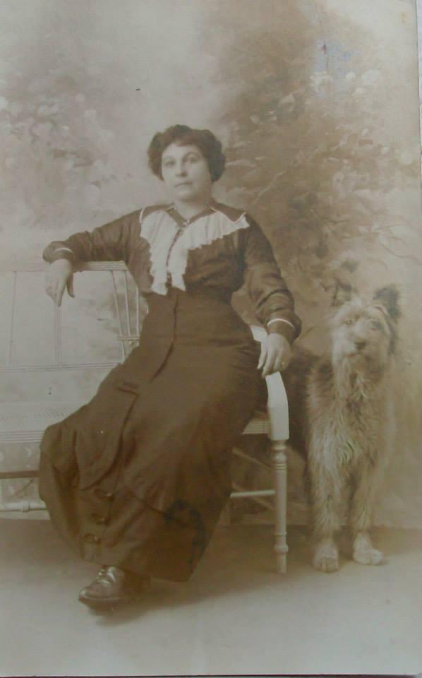 Lady and Briard circa 1920.jpg