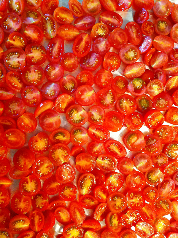 Cherry tomatoes halved and ready for roasting