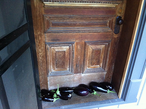 When refrigerator space is limited, we keep the eggplant cool outside the front door until we are ready to roast them.