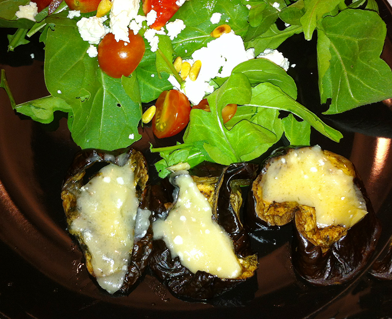 Freshly roasted eggplant with melted parmesan makes a perfect side to salad or try it on an open faced sandwich with mayo. Delicious!